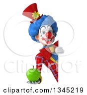 Clipart Of A 3d Colorful Clown Holding A Green Apple Around A Sign Royalty Free Illustration