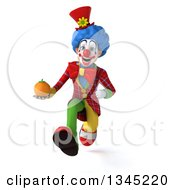Clipart Of A 3d Colorful Clown Holding A Navel Orange And Sprinting Royalty Free Illustration