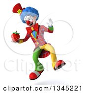 Clipart Of A 3d Colorful Clown Holding A Strawberry And Jumping Royalty Free Illustration