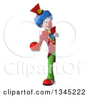 Clipart Of A 3d Full Length Colorful Clown Holding A Tomato And Looking Around A Sign Royalty Free Illustration