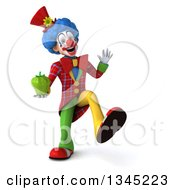 Clipart Of A 3d Colorful Clown Holding A Green Bell Pepper And Dancing Royalty Free Illustration