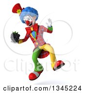 Clipart Of A 3d Colorful Clown Holding A Blackberry And Jumping Royalty Free Illustration