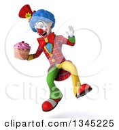 Clipart Of A 3d Colorful Clown Holding A Pink Frosted Cupcake And Jumping Royalty Free Illustration
