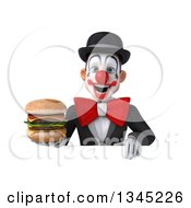 Clipart Of A 3d White And Black Clown Holding A Double Cheeseburger Over A Sign Royalty Free Illustration