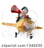 Clipart Of A 3d White And Black Clown Aviator Pilot Announcing With A Megaphone And Flying A Yellow Airplane Royalty Free Illustration