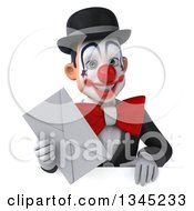 Clipart Of A 3d White And Black Clown Holding An Envelope Over A Sign Royalty Free Illustration