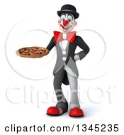 Clipart Of A 3d White And Black Clown Holding A Pizza Royalty Free Illustration