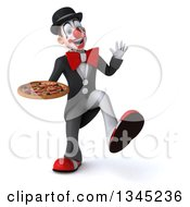 Clipart Of A 3d White And Black Clown Holding A Pizza And Dancing Royalty Free Illustration