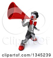 Clipart Of A 3d White And Black Clown Announcing Upwards With A Megaphone Royalty Free Illustration