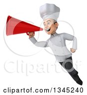 Clipart Of A 3d Young White Male Chef Flying And Announcing To The Left With A Megaphone Royalty Free Illustration