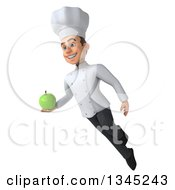 Clipart Of A 3d Young White Male Chef Holding A Green Apple And Flying Royalty Free Illustration