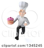 Clipart Of A 3d Young White Male Chef Holding A Pink Frosted Cupcake And Sprinting Royalty Free Illustration