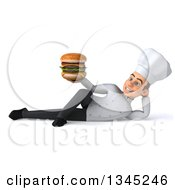 Clipart Of A 3d Young White Male Chef Holding A Double Cheeseburger And Resting On His Side Royalty Free Illustration