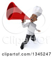 Clipart Of A 3d Young Black Male Chef Announcing Upwards With A Megaphone Royalty Free Illustration