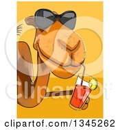 Poster, Art Print Of Cartoon Camel Wearing Sunglasses And Sipping A Drink Around A Sign Over Yellow And Orange