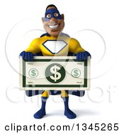 Clipart Of A 3d Muscular Black Male Super Hero In A Yellow And Blue Suit Holding A Giant Dollar Bill Royalty Free Illustration by Julos