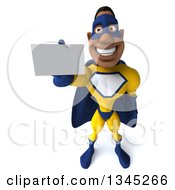 Clipart Of A 3d Muscular Black Male Super Hero In A Yellow And Blue Suit Holding Up A Business Card Royalty Free Illustration