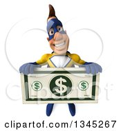 Clipart Of A 3d Muscular Male Yellow And Blue Super Hero Holding Up A Giant Dollar Bill Royalty Free Illustration