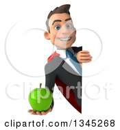 Clipart Of A 3d Young Super White Businessman Holding A Green Apple Around A Sign Royalty Free Illustration