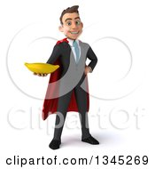 Clipart Of A 3d Young Super White Businessman Holding A Banana Royalty Free Illustration