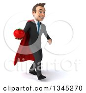 Clipart Of A 3d Young Super White Businessman Holding A Tomato And Walking Slightly To The Right Royalty Free Illustration