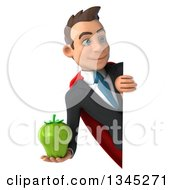 Clipart Of A 3d Young Super White Businessman Holding A Green Bell Pepper And Looking Around A Sign Royalty Free Illustration