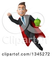 Clipart Of A 3d Young Super White Businessman Holding A Green Bell Pepper And Flying Royalty Free Illustration