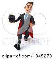 Clipart Of A 3d Young Super White Businessman Holding A Blackberry And Speed Walking Royalty Free Illustration