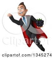 Clipart Of A 3d Young Super White Businessman Holding A Blackberry And Flying Royalty Free Illustration