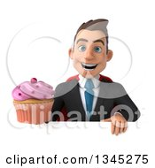 Clipart Of A 3d Young Super White Businessman Holding A Pink Frosted Cupcake Over A Sign Royalty Free Illustration