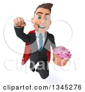 Clipart Of A 3d Young Super White Businessman Holding A Pink Frosted Cupcake And Flying Royalty Free Illustration