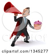Clipart Of A 3d Young Super White Businessman Holding A Pink Frosted Cupcake And Announcing Upwards With A Megaphone Royalty Free Illustration