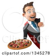 Clipart Of A 3d Young Super White Businessman Holding A Pizza And Looking Around A Sign Royalty Free Illustration