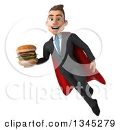 Clipart Of A 3d Young Super White Businessman Holding A Double Cheeseburger And Flying Royalty Free Illustration