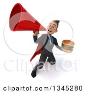 Clipart Of A 3d Young Super White Businessman Holding A Double Cheeseburger And Announcing Upwards With A Megaphone Royalty Free Illustration