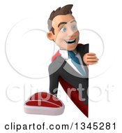 Clipart Of A 3d Young Super White Businessman Holding A Beef Steak And Looking Around A Sign Royalty Free Illustration