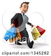 Clipart Of A 3d Super White Businessman Speed Walking To The Right And Holding Shopping Bags Royalty Free Illustration