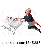 Clipart Of A 3d Young Super White Businessman Flying Up To The Left With A Shopping Cart Royalty Free Illustration