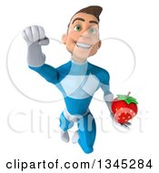 Clipart Of A 3d Young White Male Super Hero In A Light Blue Suit Holding A Strawberry And Flying Royalty Free Illustration by Julos