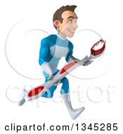 Clipart Of A 3d Young White Male Super Hero In A Light Blue Suit Holding A Toothbrush And Sprinting To The Right Royalty Free Illustration by Julos