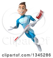 Clipart Of A 3d Young White Male Super Hero In A Light Blue Suit Holding A Toothbrush Flying And Presenting Royalty Free Illustration by Julos