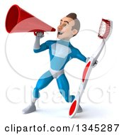 Clipart Of A 3d Young White Male Super Hero In A Light Blue Suit Holding A Giant Toothbrush And Announcing To The Left With A Megaphone Royalty Free Illustration by Julos