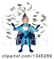 Clipart Of A 3d Caucasian Blue Male Super Hero Looking Up And Making It Rain Money Royalty Free Illustration