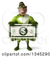 Clipart Of A 3d Buff Male Black Super Hero In Green Holding A Giant Dollar Bill Royalty Free Illustration
