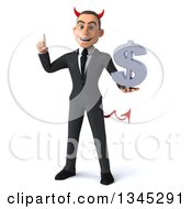 Clipart Of A 3d Young White Devil Businessman Holding Up A Finger And A Dollar Currency Symbol Royalty Free Illustration