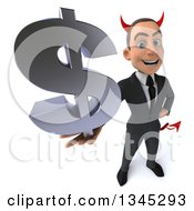 Clipart Of A 3d Young White Devil Businessman Holding Up A Dollar Currency Symbol Royalty Free Illustration