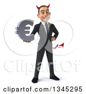 Clipart Of A 3d Young White Devil Businessman Holding A Euro Currency Symbol Royalty Free Illustration