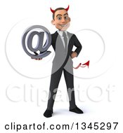 Clipart Of A 3d Young White Devil Businessman Holding An Email Arobase At Symbol Royalty Free Illustration