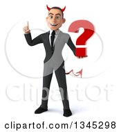 Clipart Of A 3d Young White Devil Businessman Holding Up A Finger And A Question Mark Royalty Free Illustration