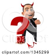 Clipart Of A 3d Young White Devil Businessman Holding A Question Mark Around A Sign Royalty Free Illustration